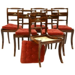 Set of Six Antique Regency Painted Klismos Dining Chairs