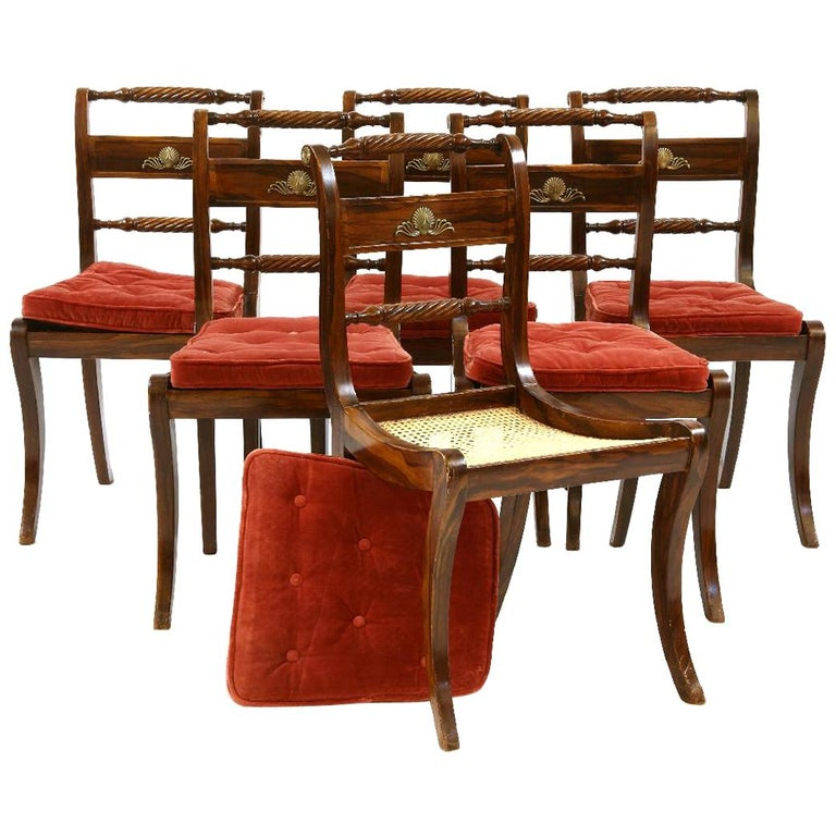 Set of Six Regency Painted Klismos Dining Chairs For Sale