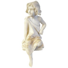 Small Marble of Young Girl Sitting to Be Placed on Edge of a Shelf or Table