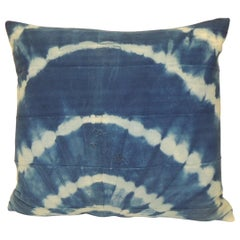Vintage Indigo and White African Resist-dye Textile Decorative Pillow