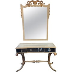 Hollywood Regency Grosfeld House Painted Vanity and Matching Mirror