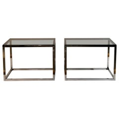 Pair of Minimalistic Chrome and Smoked Glass Side or End Tables