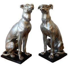 England, Pair of Large Art Deco Whippet Dogs
