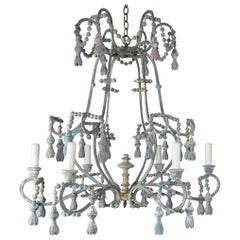 Italian Painted Six Light Iron and Wood Chandelier with Tassels