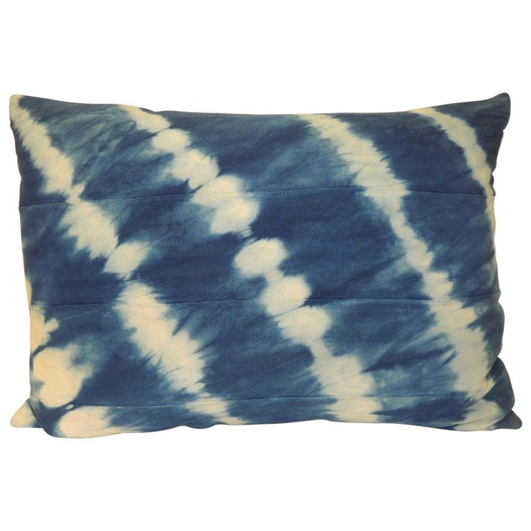 Vintage Indigo and White African Textile Decorative Pillow For Sale