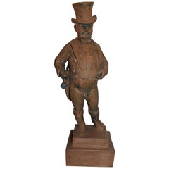 Hand Carved Wood  Folk Sculpture of John Bull