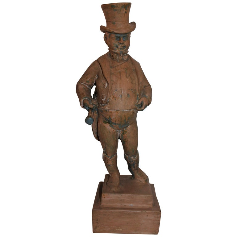 Hand Carved Wood  Folk Sculpture of W.C. Fields For Sale