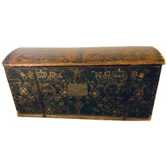 Original Painted Dowry Chest Trunk or Luggage, Dated 1840