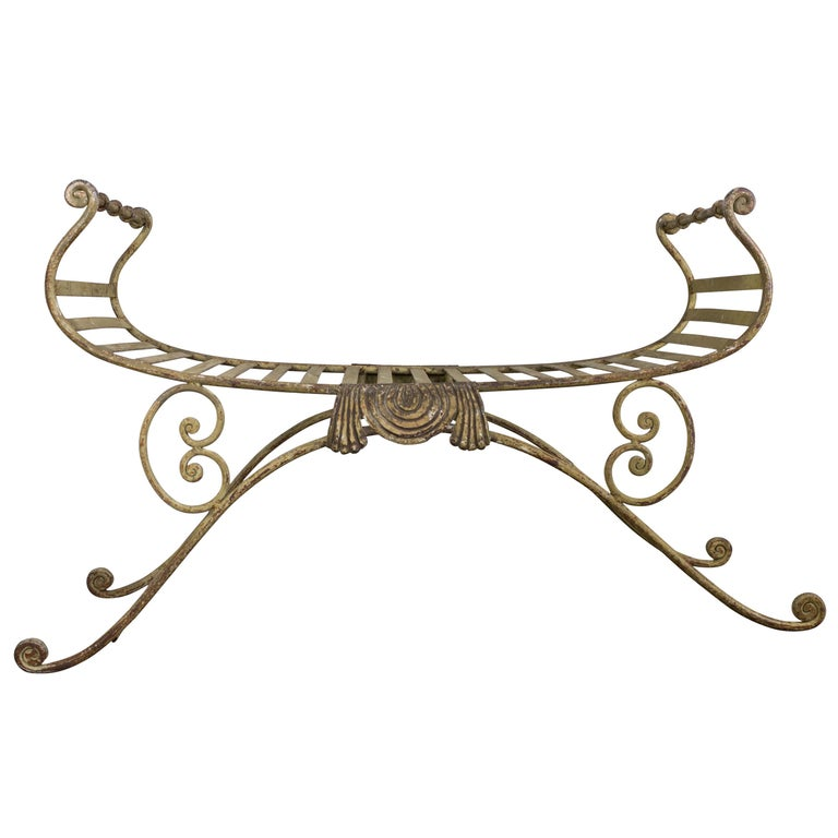 Neoclassical Iron Bench For Sale