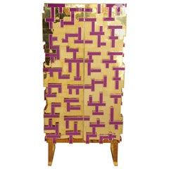 """Labyrinth"" Cabinet in Brass and Purple Glass, Spain, 2016"