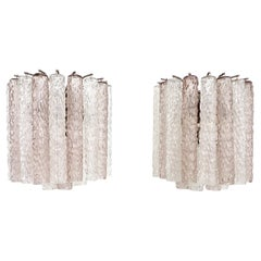 Italian Glass Pale Lavender Pink and Clear Tronchi Murano Sconces by Venini