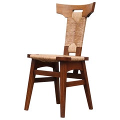 Single Pierre Chapo Style Brutalist Rush and Walnut Side Chair