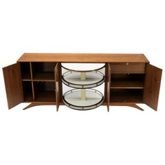 Swivel Centre Bar Walnut Mid-Century Modern Credenza Sideboard Sculptural Legs
