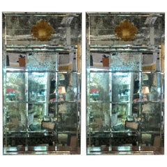 Pair of Art Deco Beveled Console or Wall Mirrors with Engraved Gilt Shell Motif
