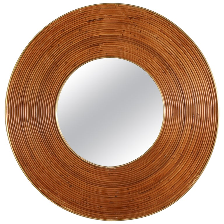 Large Round Reed and Brass Mirror, Italy, 1970s For Sale
