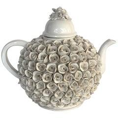 Large Italian Creamware or White Glazed Teapot with Lid Rosettes