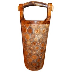 Exotic Woods Set in Crystallized Lucite Umbrella Stand or Floral Display Stand