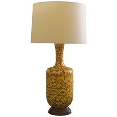 Mod American 1960s Mustard Crater-Glazed Bottle-Form Lamp