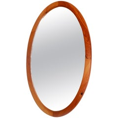 Vintage White Oak American Made Oval Mirror