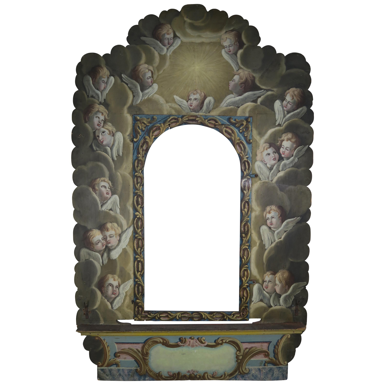 19th Century Italian Painted Frame with Cherubs
