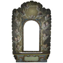 19th Century Italian Painted Frame with Cherubs
