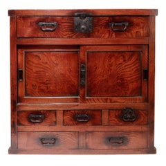 Japanese Keyaki Tansu Merchant's Chest