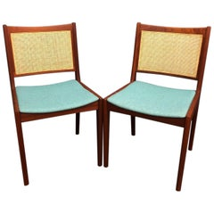 Pair of Danish Modern Teak and Cane Chairs by Karl-Erik Ekselius