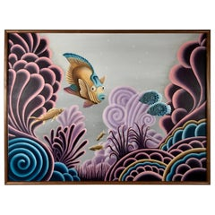Whimsical Acrylic Oil Painting on Canvas by Andy Russell, 1991