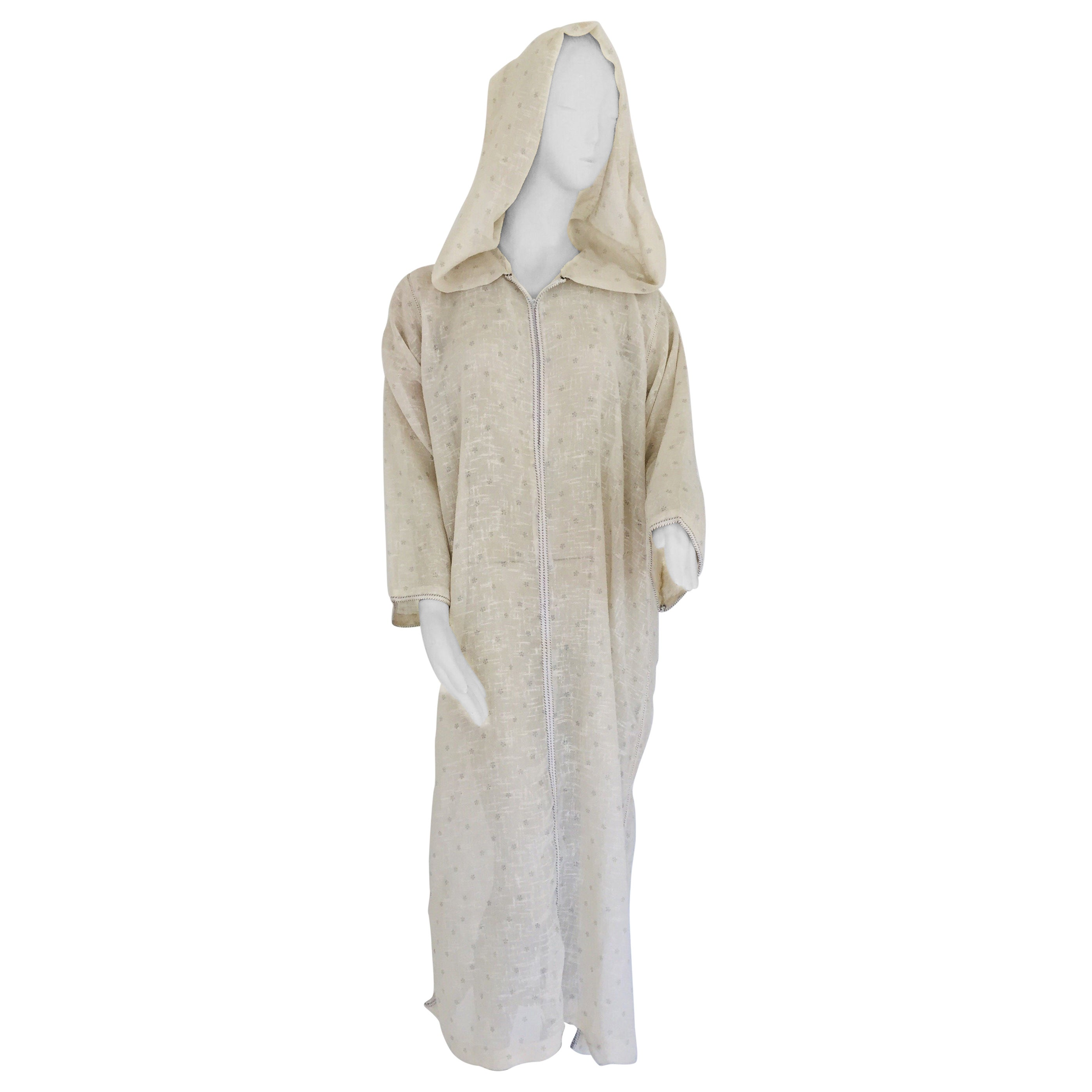 ed5ccd98d 1970 Moroccan Hooded Caftan White and Blue Linen Djellabah Kaftan For Sale  at 1stdibs