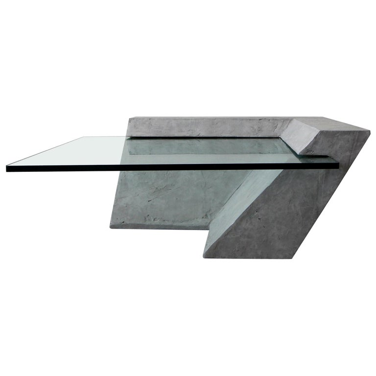 Cantilevered Faux Concrete Plaster and Glass Coffee Table For Sale
