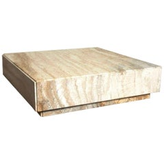 Milo Baughman Travertine Plinth Monolith Stone Cubic Coffee Table, 1969