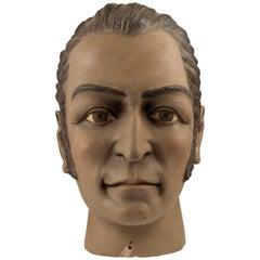 Midcentury Ceramic Folk Art Bust of Amado Nervo, Mexico