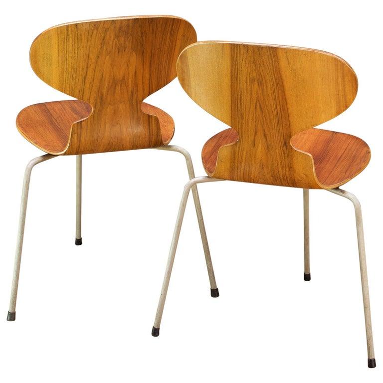 1953 Arne Jacobsen Tri-Leg Teak Ant Chairs Fritz Hansen Danish Cabinmodern
