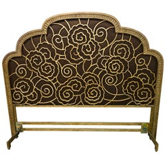 Glamorous Art Deco Style Gilt Iron and Umber Silk Headboard