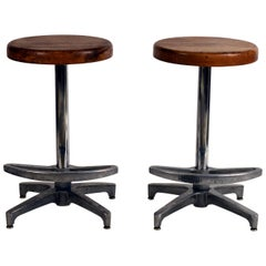 Pair of Counter Height Swiveling Bar Stools
