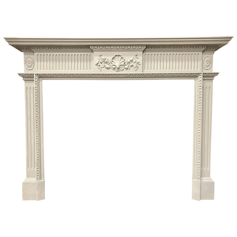 19th Century Period Georgian Style Wooden Fireplace Surround For Sale
