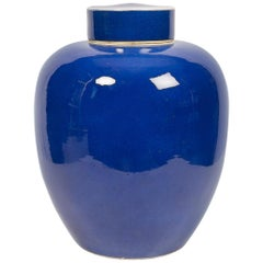 Antique Chinese Porcelain Blue Monochrome Large Covered Jar