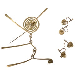 Claire Falkenstein Articulated Brooch and Earrings