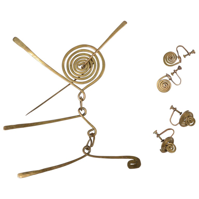 Claire Falkenstein Articulated Brooch and Earrings For Sale