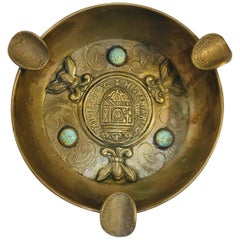 Alpaca, Spanish Colonial Coin Cigars Ashtray with Turquoise Cabochons