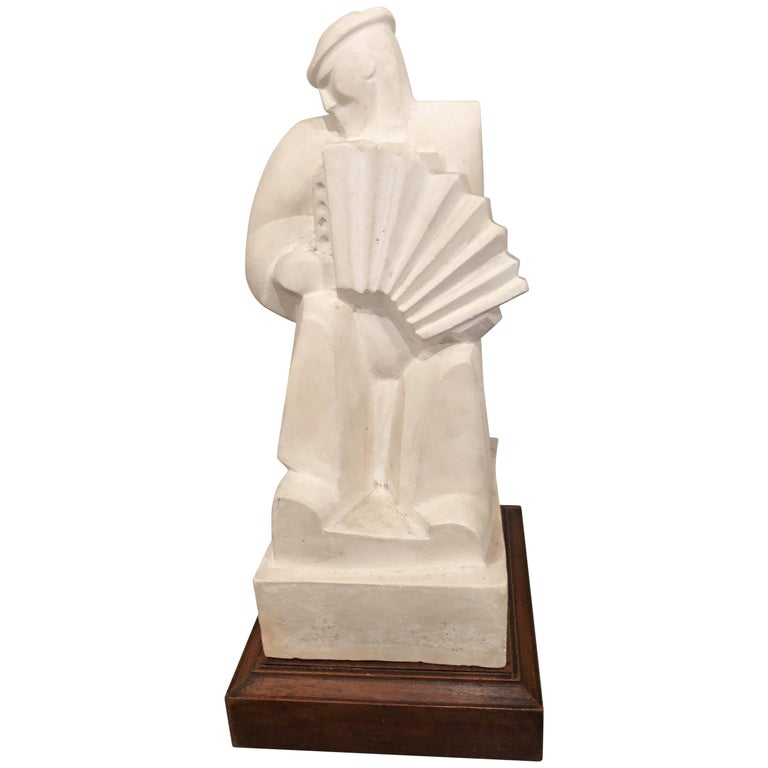 "Jan and Joel Martel ""L'Accordioniste"" The Accordion Player Sculpture Art Deco For Sale"