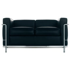 Vintage Le Corbusier LC2 Petit Modele Two-Seat Sofa by Cassina, Black Leather