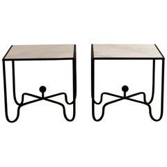 Pair of Wrought Iron and Honed Marble 'Entretoise' Side Tables by Design Frères