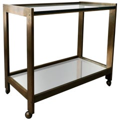Bronze and Glass Midcentury Italian Bar Cart