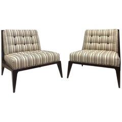 Pair of Modern Striped Lounge Chairs