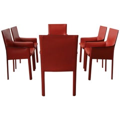 Set of 6 Orange Italian Leather Dining Chairs by Enrico Pellizzoni