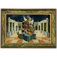 Fernand Renard Reverse Painting on Glass, 1939 Paris Surreal Trompe L'oeil