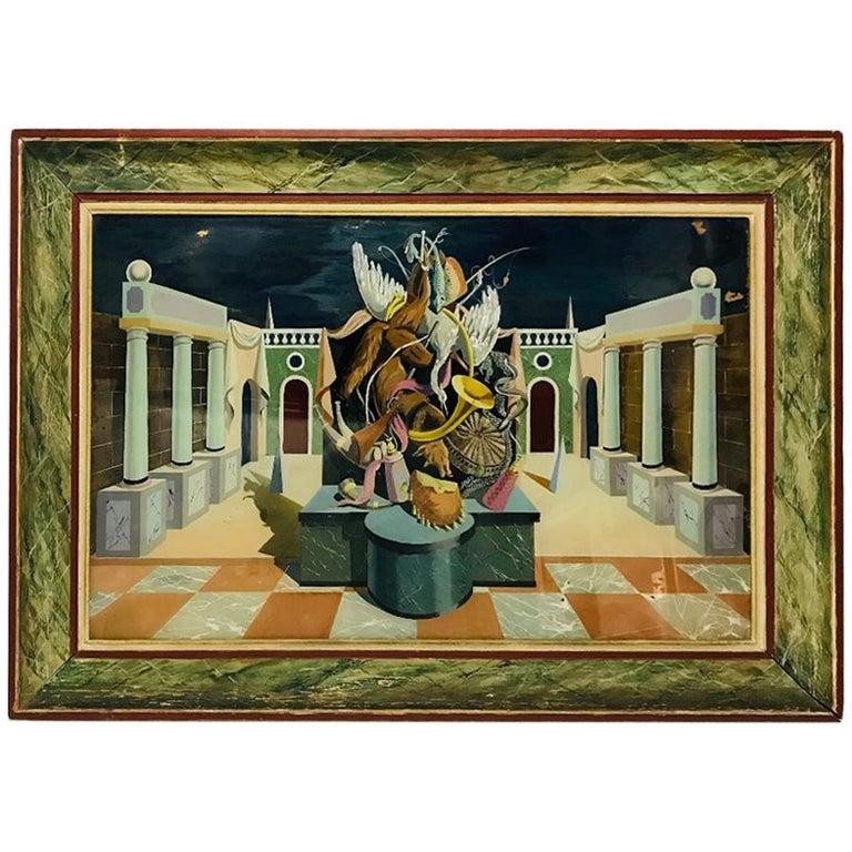 Fernand Renard Reverse Painting on Glass, 1939 Paris Surreal Trompe L'oeil For Sale
