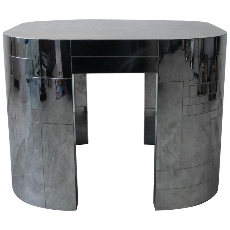 Rare Chrome Patchwork Cityscape Table by Paul Evans For Sale