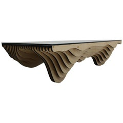 Modern Parametric Stacked Plywood Dune Wave Coffee Table